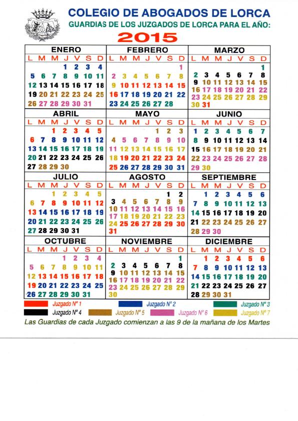 calendario juzgados de guardia 2015